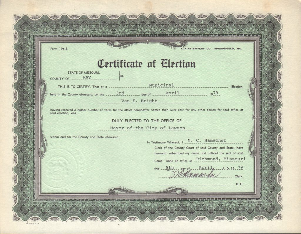 Certificate of Election